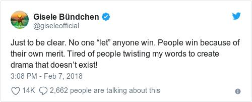 Tweet by @Gisele Bündchen