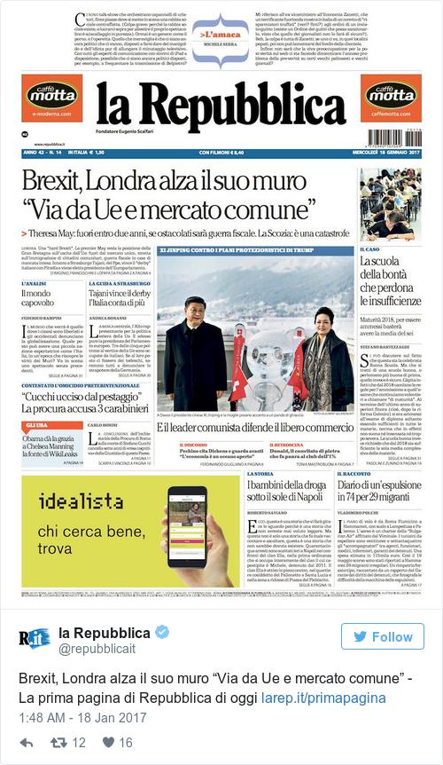 Tweet by @la Repubblica