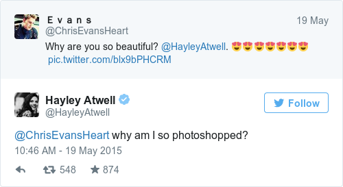 Tweet by @Hayley Atwell