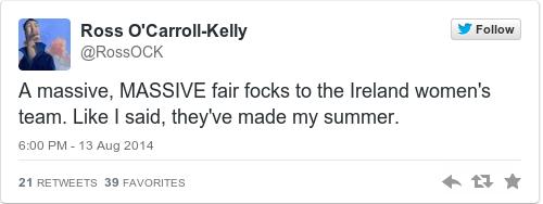 Tweet by @Ross O'Carroll-Kelly