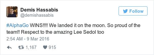 딥마인드 CEO인 데미스 허사비스의 트윗