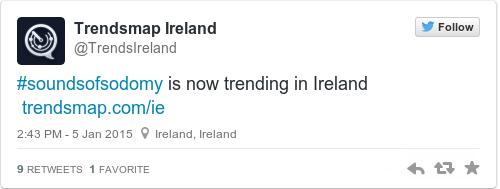 Tweet by @Trendsmap Ireland