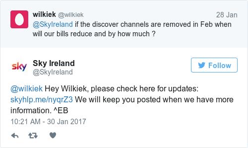 Tweet by @Sky Ireland