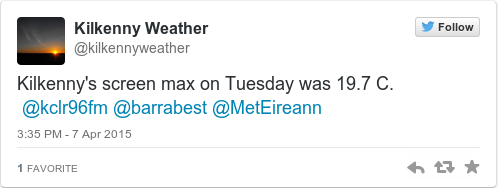 Tweet by @Kilkenny Weather