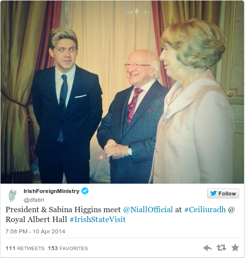 Niall horan met president higgins and twitter was very for Door 12 royal albert hall