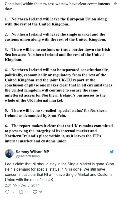 As it happened eu and uk agree no hard border on a very sinn fins demand for special status in ni is gone we still have concerns but clear that ni will leave solutioingenieria Image collections