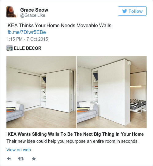 Ikea will be making it possible to move the walls in your House with movable walls