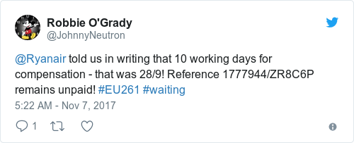 Tweet by @Robbie O'Grady