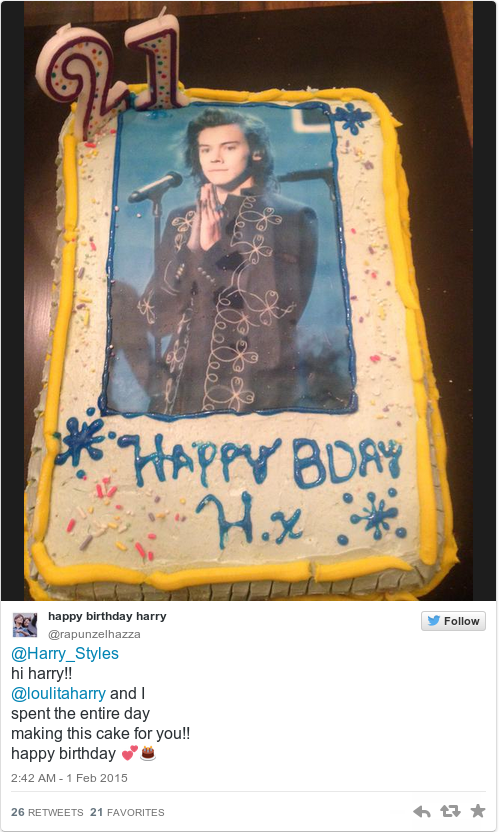 Harry Styles turned 21 today and 1D fans are actually making him