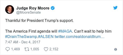 Tweet by @Judge Roy Moore