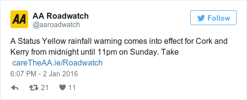 Tweet by @AA Roadwatch