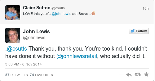 Tweet by @John Lewis