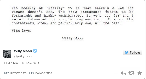 Tweet by @Willy Moon