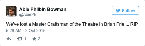 Tweet by @Abie Philbin Bowman