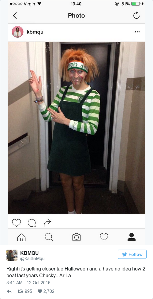 this week scottish twitter user kaitlinmqu shared her costume from last year chucky r l - Scottish Girl Halloween Costume