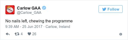 Tweet by @Carlow GAA