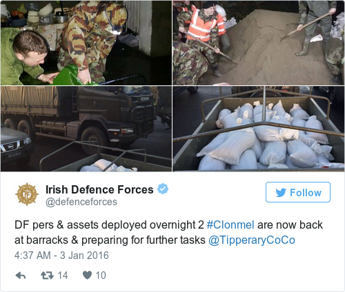 Tweet by @Irish Defence Forces