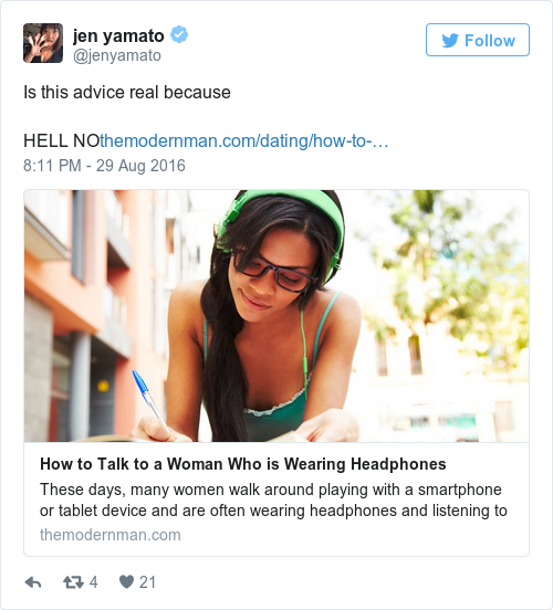 Everyone is slating this article advising men how to talk to women everyone is slating this article advising men how to talk to women wearing headphones ccuart Gallery