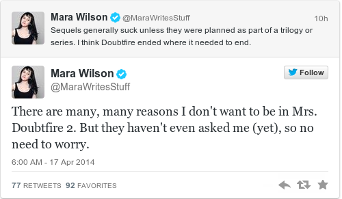 Tweet by @Mara Wilson