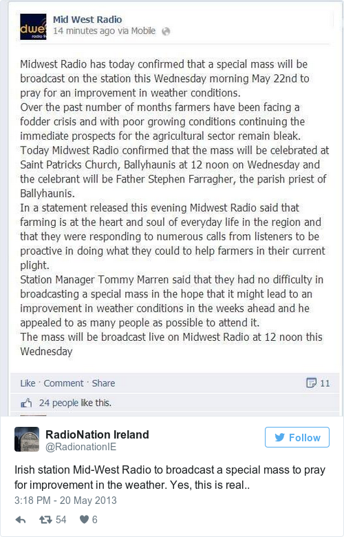 Tweet by @RadioNation Ireland