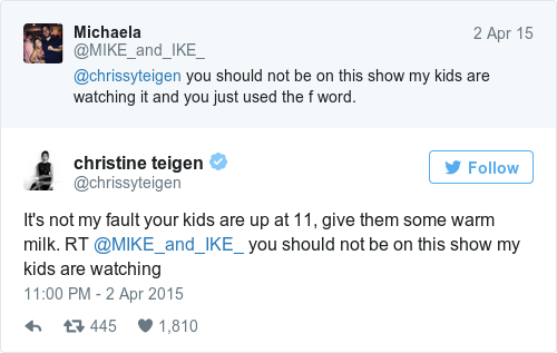 Tweet by @christine teigen