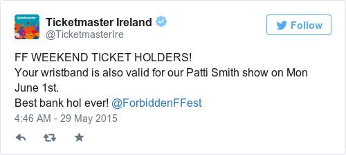 Tweet by @Ticketmaster Ireland