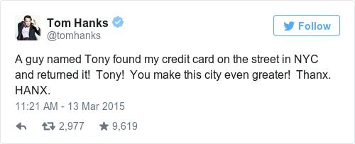 Tweet by @Tom Hanks