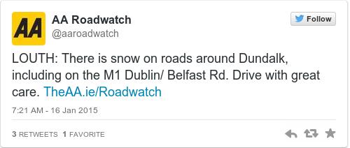 Tweet by @AA Roadwatch