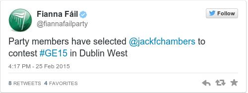 Tweet by @Fianna Fáil
