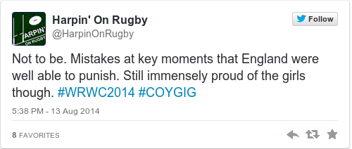 Tweet by @Harpin' On Rugby