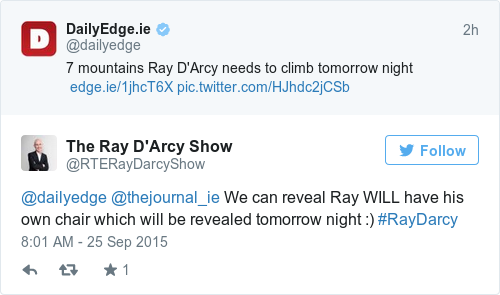 Tweet by @The Ray D'Arcy Show