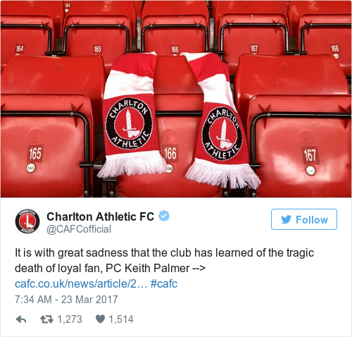 It is with great sadness that the club has learned of the tragic death of  loyal fan, PC Keith Palmer --> https://t.co/4YED5bCx7j #cafc  pic.twitter.com/ ...