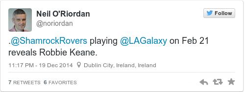 Tweet by @Neil O'Riordan