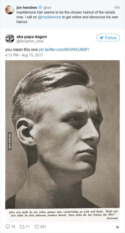 Macklemore denounced his famous haircut after a comedian pointed out people began to back jon up on the nazi haircut thing winobraniefo Gallery