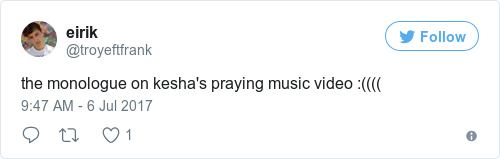 People are praising the powerful opening monologue in keshas new single the monologue on keshas praying music video ccuart Images