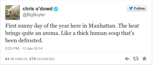 Tweet by @chris o'dowd