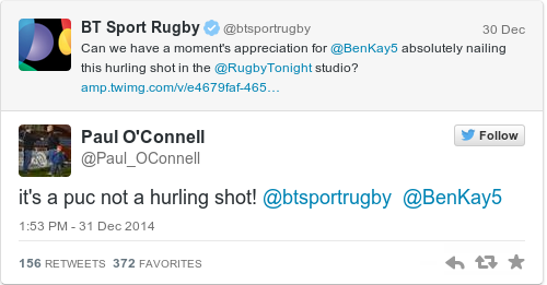 Tweet by @Paul O'Connell