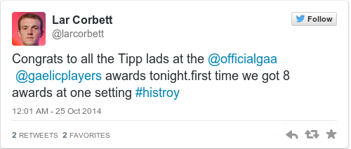 Tweet by @Lar Corbett
