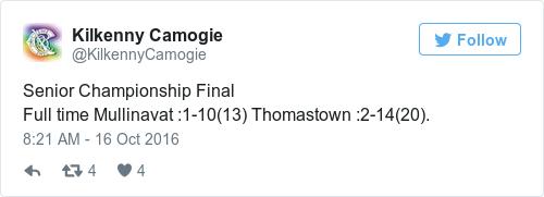 Tweet by @Kilkenny Camogie
