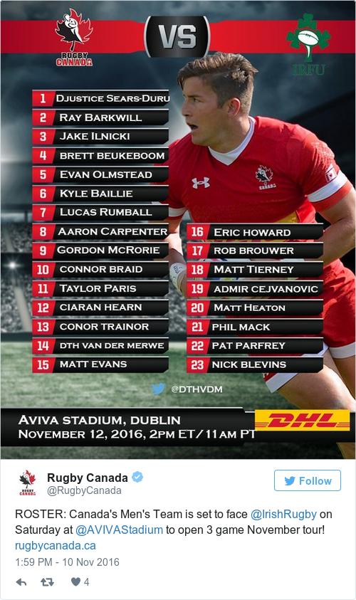 Tweet by @Rugby Canada