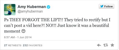 Tweet by @Amy Huberman