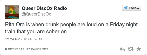 Tweet by @Queer DiscOx Radio