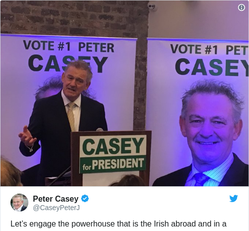 Tweet by @Peter Casey