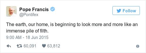 Tweet by @Pope Francis