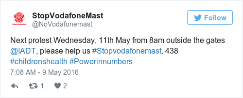 Tweet by @StopVodafoneMast