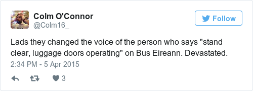 Tweet by @Colm O'Connor