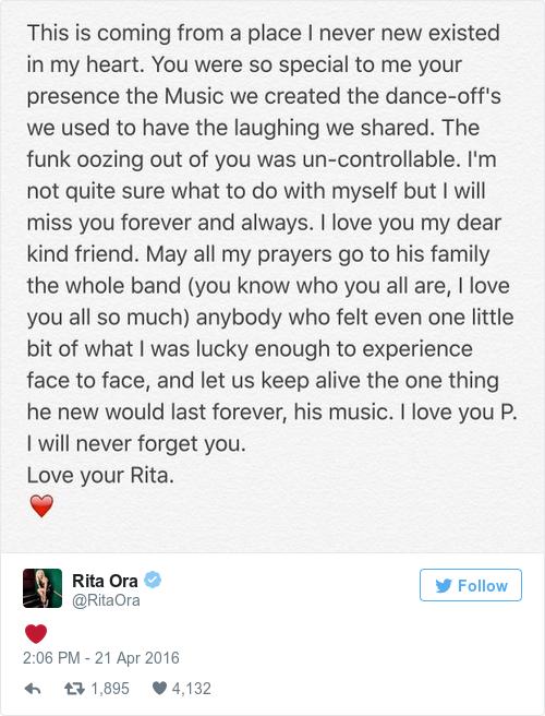 Tweet by @Rita Ora