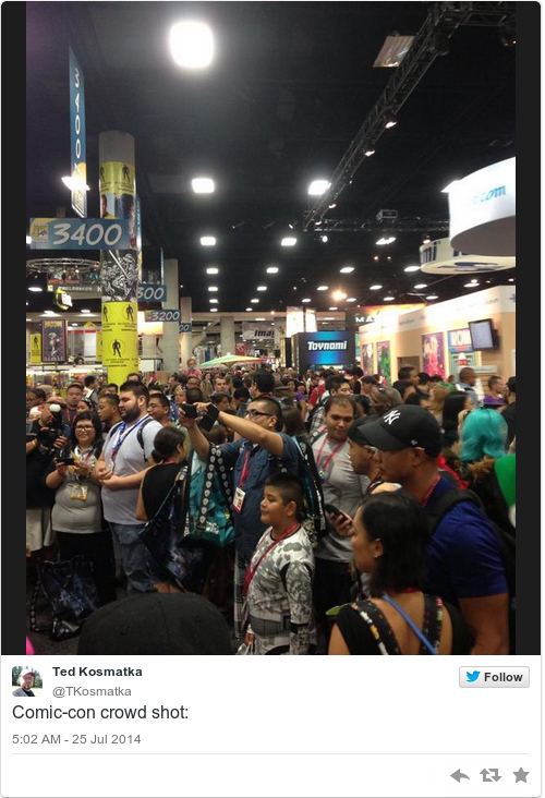 Bathroom Queue the tweets from comic-con's hall h line are absolutely insane