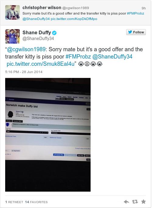 Tweet by @Shane Duffy