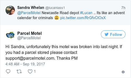Tweet by @Parcel Motel